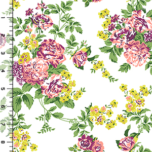 Chartreuse Purple Floral on White Stretch Denim Fabric