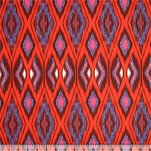 Half Yard Red Blue Pink Ikat on White Stretch Twill Fabric