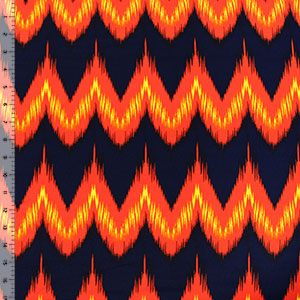 Half Yard Fiery Chevron on Blue Crepe De Chine Fabric