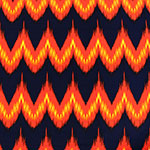 Fiery Chevron on Blue Crepe De Chine Fabric