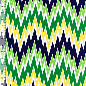 Half Yard Navy Kelly Green Yellow Shakey Chevron Crepe De Chine Fabric