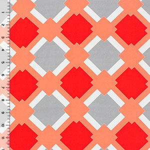 Half Yard Coral Gray Diamond Lattice Crepe De Chine Fabric