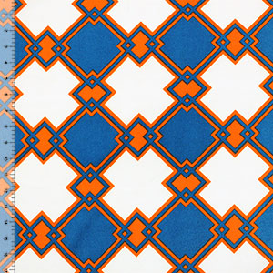 Blue Diamond Lattice Crepe De Chine Fabric