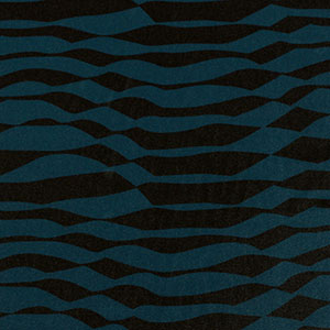 Half Yard Teal Blue Black Abstract Stripe Crepe De Chine Fabric
