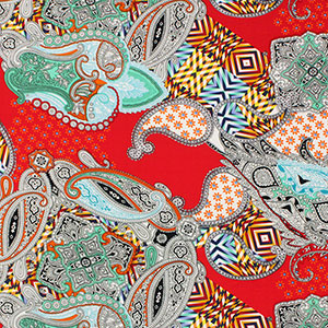 Half Yard Red Orange Paisley Patchwork Crepe De Chine Fabric