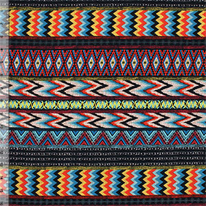 Multi Color Ethnic Chevron Wool Dobby Hi Multi Chiffon Fabric
