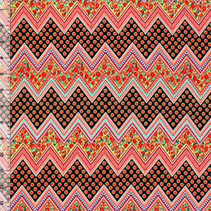 Pink Black Floral Chevron Peach Skin Fabric