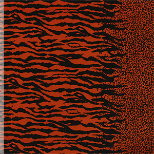 Black Animal Stripes Border Print Peach Skin Fabric