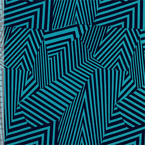 Half Yard Navy Blue Abstract Lines on Teal Blue Crepe De Chine Fabric