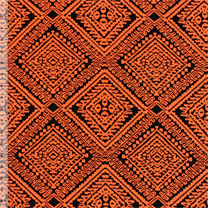 Half Yard Stitched Orange Diamonds on Black Peach Skin Fabric