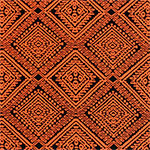 Stitched Orange Diamonds on Black Peach Skin Fabric