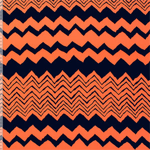 Navy Blue Painted Chevron on Neon Orange Peach Skin Fabric