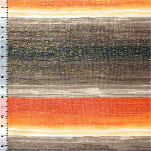 Half Yard Painted Brown Orange Gold Shimmer Hi Multi Chiffon Fabric