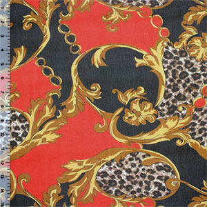 Gold Red Black Animal Inset Hi Multi Chiffon Fabric