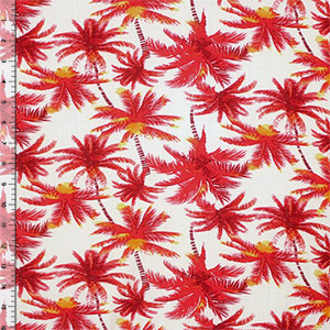 Half Yard Red Yellow Palm Trees on Natural White Rayon Challis Fabric